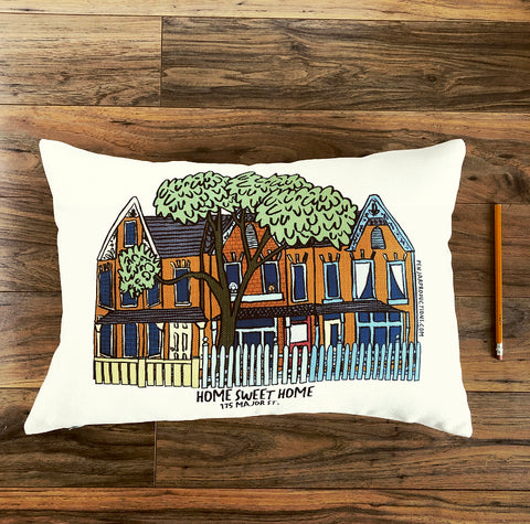 I draw custom pillows of your home by Alison Garwood-Jones