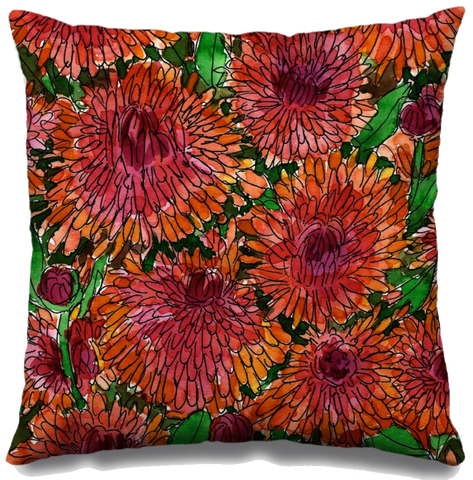 Crimson Mums Fall Throw Pillow
