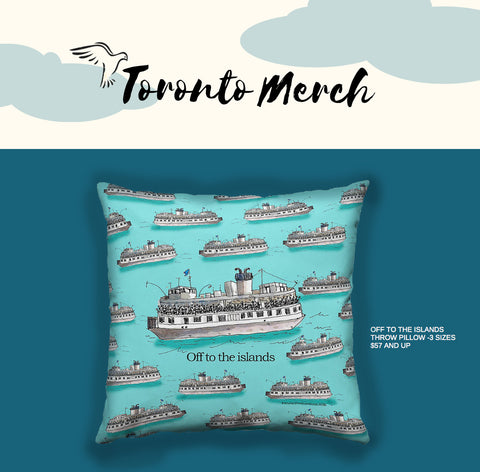 Toronto Island Throw Pillow by PenJarProductions.com