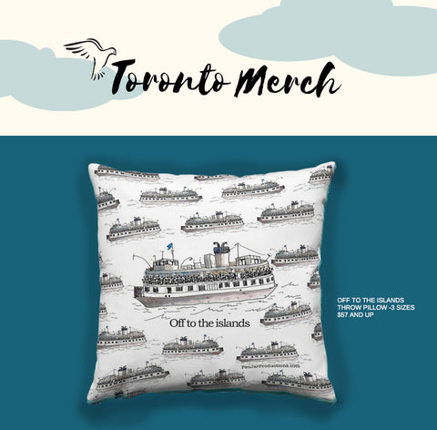 Toronto Island Ferry Throw Pill by PenJarProductions.com