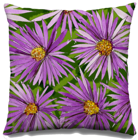Purple Asters Fall Throw Pillow