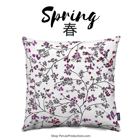 The Cherry Blossom Throw Pillow from PenJarProductions.com