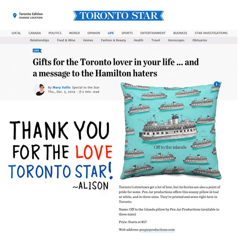 Toronto Island Ferry Pillow Featured in The Toronto Star