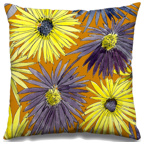 Yellows Asters Fall Throw Pillow