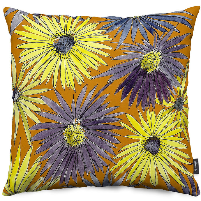 Yellow Asters Throw Pillow