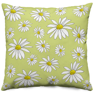 Chartreuse Daisies Throw Pillow