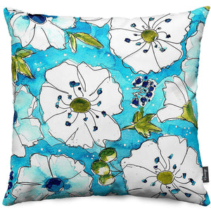 Aqua Pansies Throw Pillow