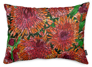 Crimson Mums Throw Pillow