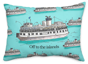 Off to the Islands Aqua Throw Pillow