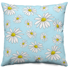 Blue Daisies Throw Pillow