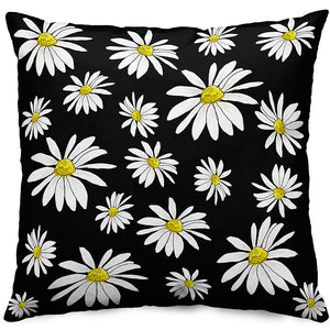 Black Daisies Throw Pillow