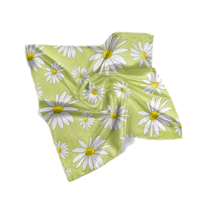 Chartreuse Daisies Floral Scarf