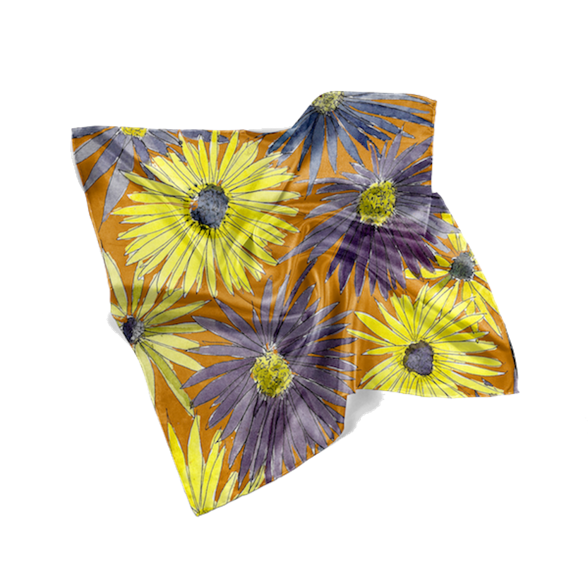 Yellow Asters Square Scarf