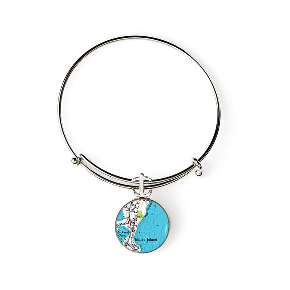 Bailey Island Mackerel Cove Expandable Bracelet with Anchor Charm