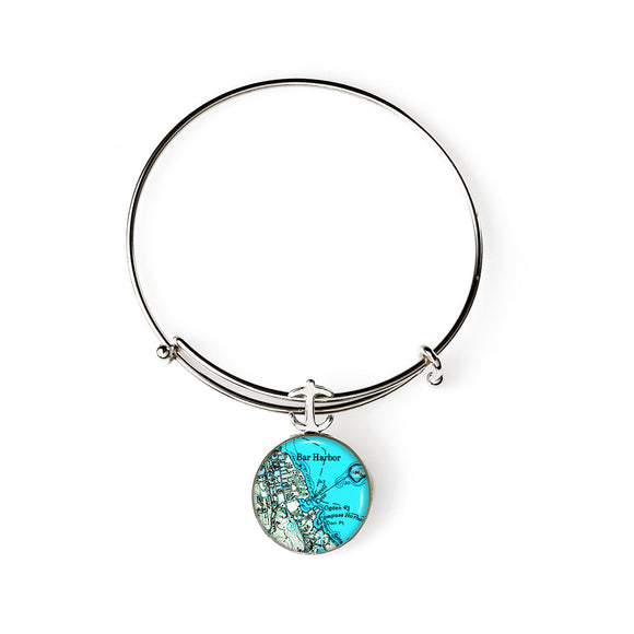 Bar Harbor Blue Expandable Bracelet with Anchor Charm