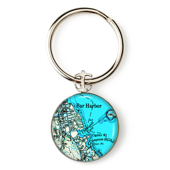 Bar Harbor Blue Anchor Key Ring
