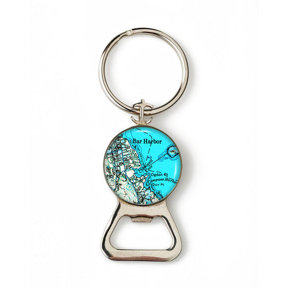 Bar Harbor Blue Anchor Combination Bottle Opener with Key Ring
