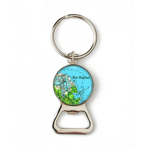 Bar Harbor Green Anchor Combination Bottle Opener with Key Ring