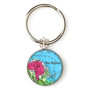 Bar Harbor Pink Anchor Key Ring