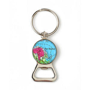 Bar Harbor Pink Anchor Combination Bottle Opener with Key Ring