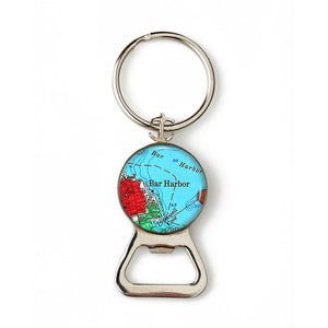 Bar Harbor Red Anchor Combination Bottle Opener with Key Ring