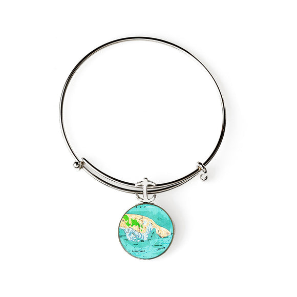 Barnstable Harbor Expandable Bracelet with Anchor Charm