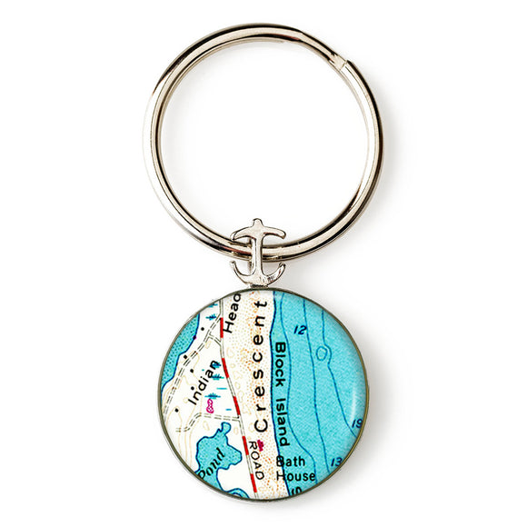 Block Island Crescent Beach Anchor Key Ring