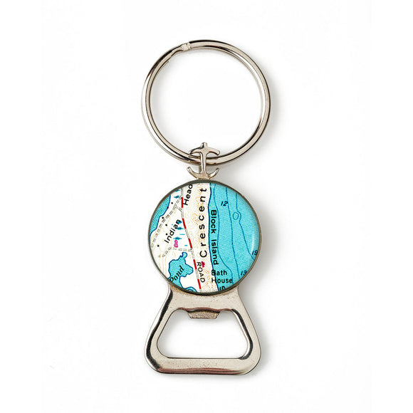 Block Island Crescent Beach Combination Bottle Opener With Key Ring