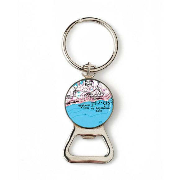 Block Island Mohegan Bluffs Combination Bottle Opener With Key Ring