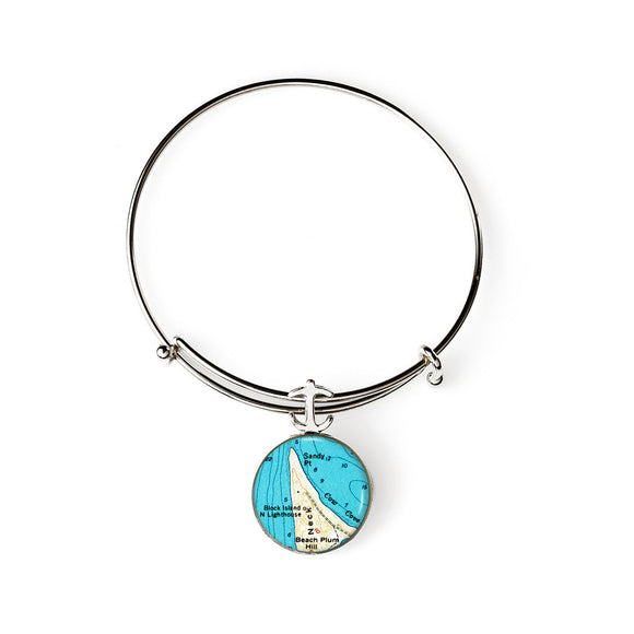 Block Island Sandy Point Lighthouse Expandable Bracelet with Anchor Charm