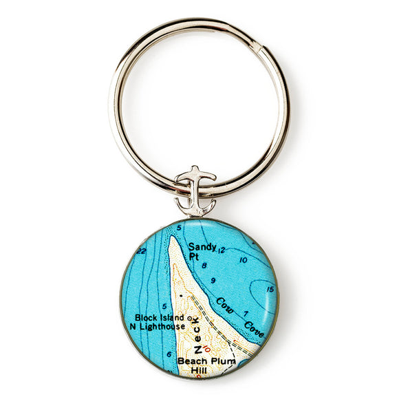 Block Island Sandy Point Lighthouse Anchor Key Ring