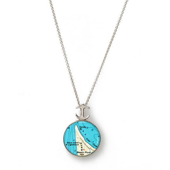 Block Island Sandy Point Lighthouse Small Anchor Pendant