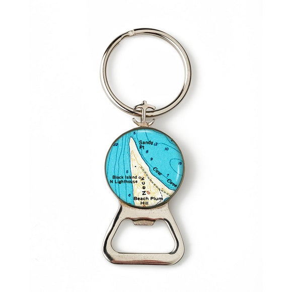Block Island Sandy Point Lighthouse Combination Bottle Opener With Key Ring