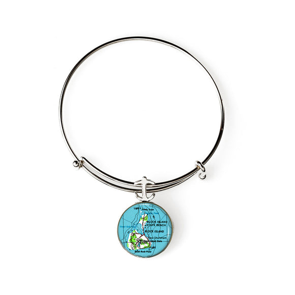 Block Island Expandable Bracelet with Anchor Charm