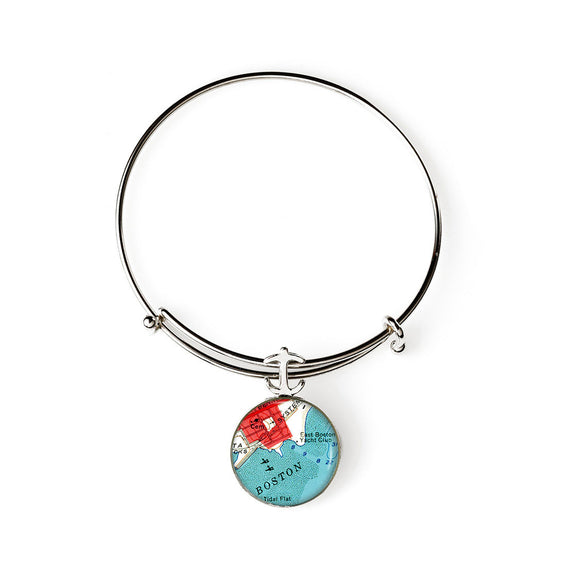 Boston Harbor Expandable Bracelet with Anchor Charm