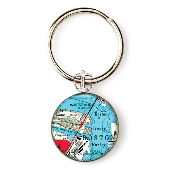 Boston Mystic River Anchor Key Ring