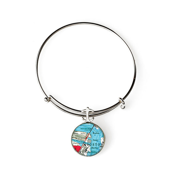 Boston Mystic River Expandable Bracelet with Anchor Charm