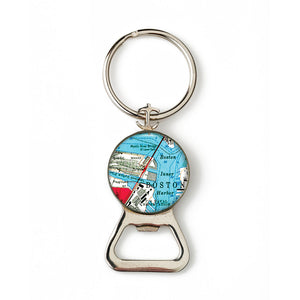 Boston Mystic River Combination Bottle Opener with Key Ring