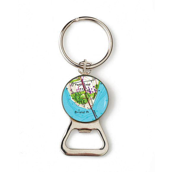 Bristol Point Combination Bottle Opener With Key Ring