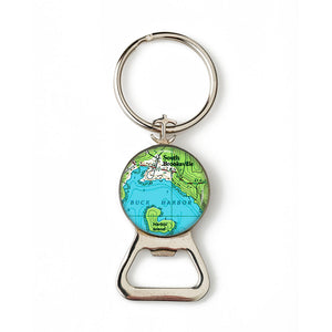 Buck Harbor South Brooksville Anchor Combination Bottle Opener with Key Ring