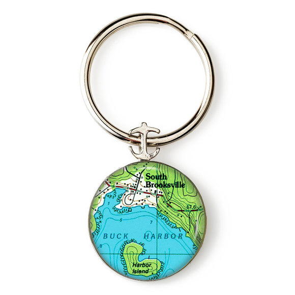 Buck Harbor South Brooksville Anchor Key Ring