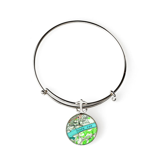 Cape Cod Buzzards Bay Expandable Bracelet with Anchor Charm