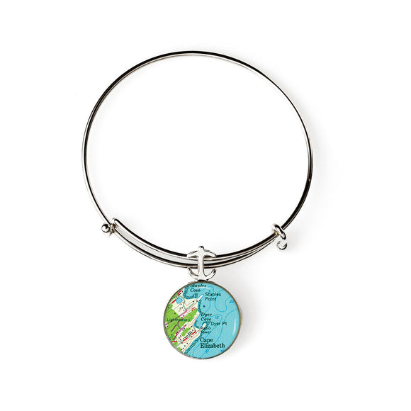 Cape Elizabeth Dyer Cove Expandable Bracelet with Anchor Charm