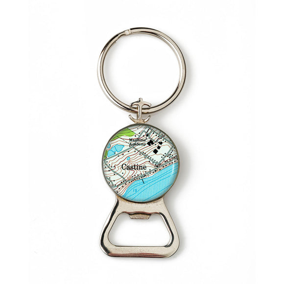 Castine Maritime Academy Anchor Combination Bottle Opener with Key Ring