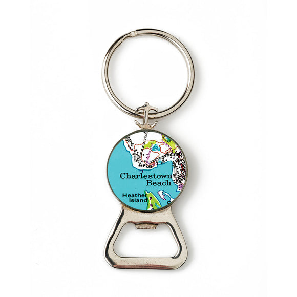 Charlestown Beach Heather Island Combination Bottle Opener With Key Ring