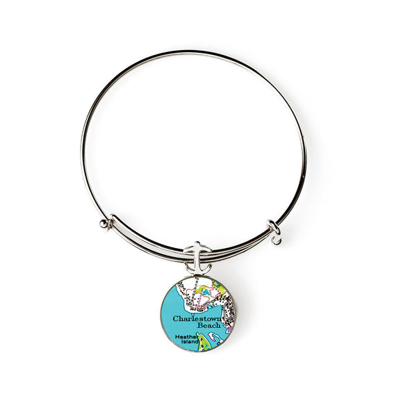 Charlestown Beach Heather Island Expandable Bracelet with Anchor Charm