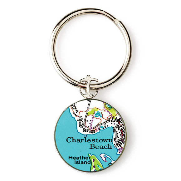 Charlestown Beach Heather Island Anchor Key Ring