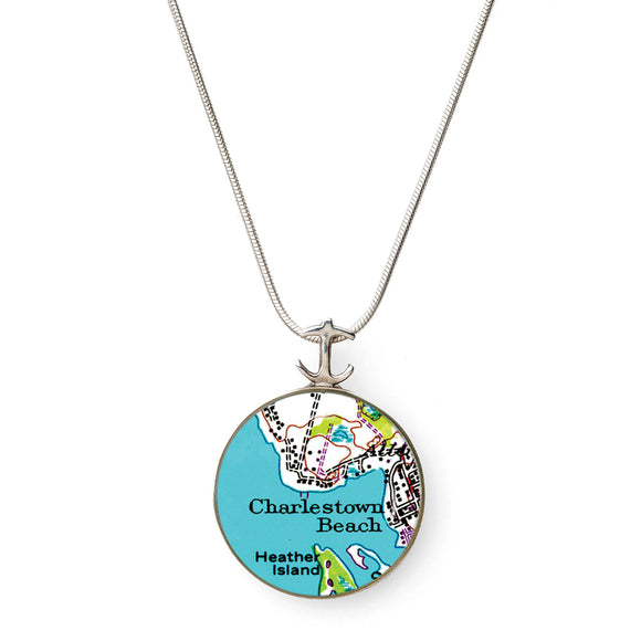 Charlestown Beach Heather Island Large Anchor Pendant
