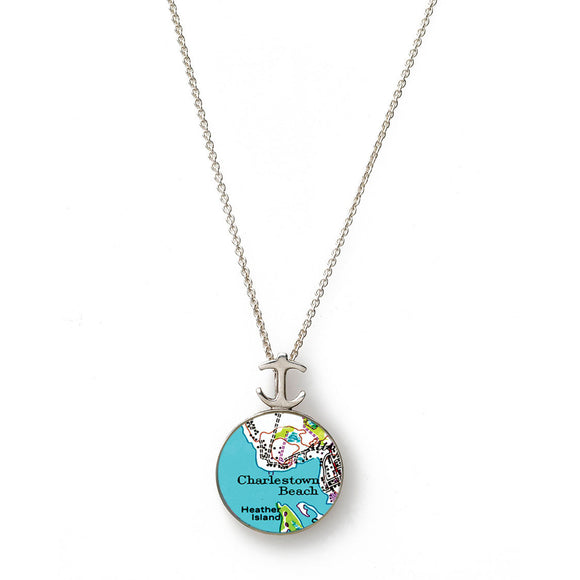 Charlestown Beach Heather Island Small Anchor Pendant