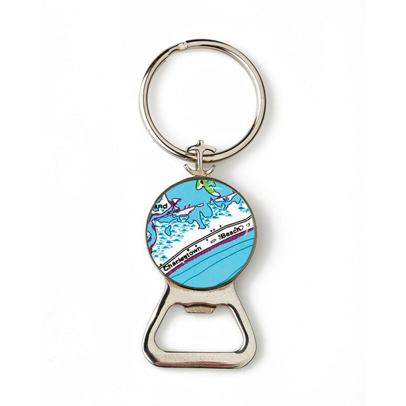 Charlestown Beach Combination Bottle Opener With Key Ring